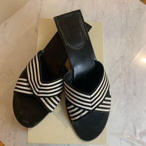 Kate Spade Myrna Black & White Ribbon Flat Size 10